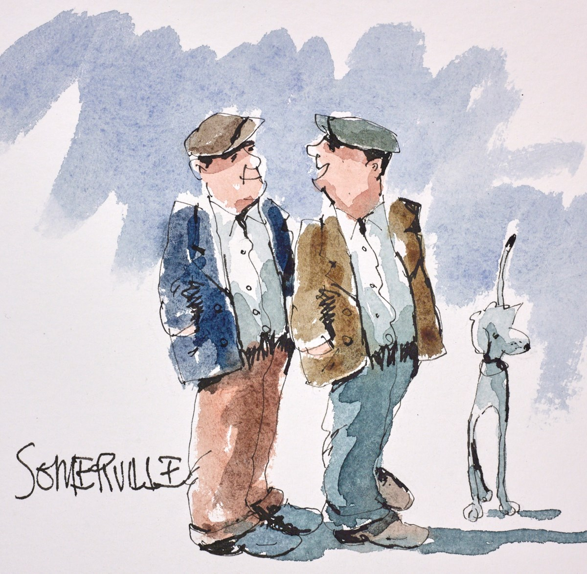 The Gossip Boys by george somerville -  sized 6x6 inches. Available from Whitewall Galleries
